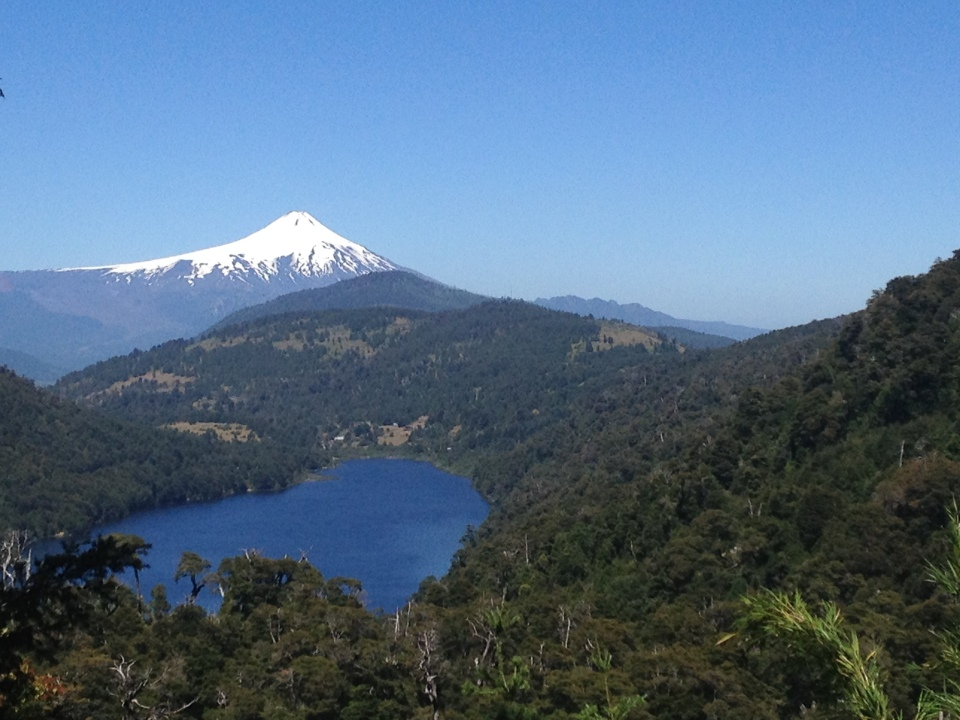 Villarica volcano with a lake in front