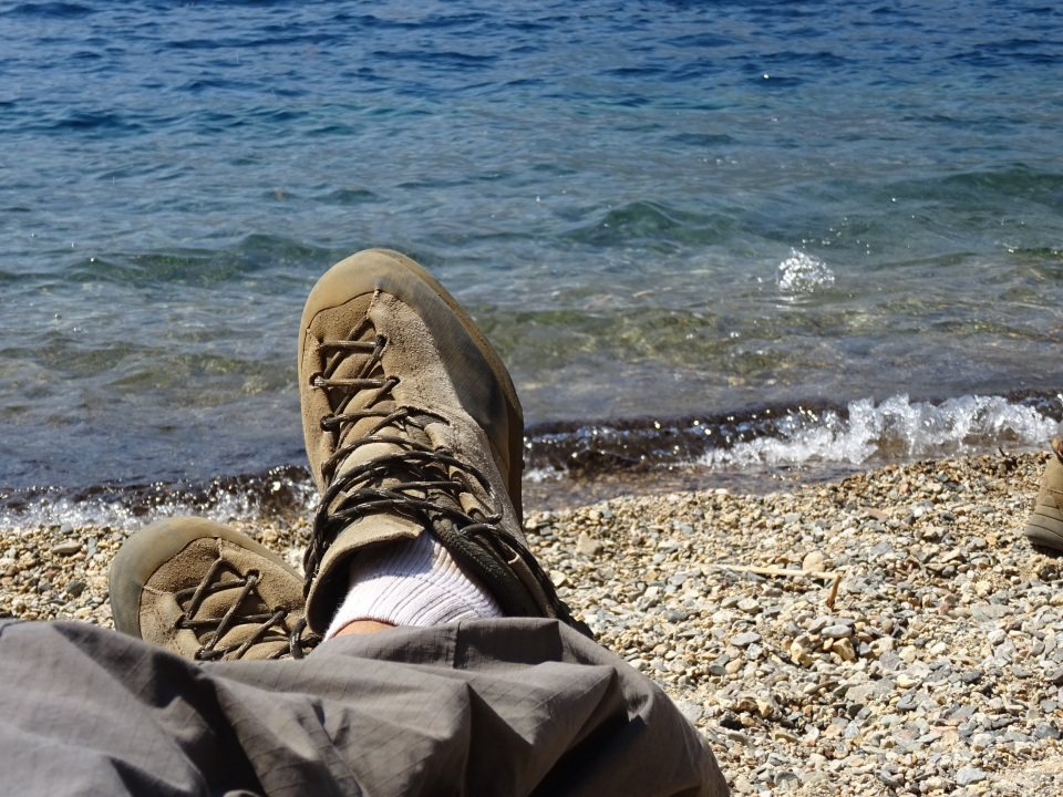 Taking a break after a great hike into the beach.  I'll even plug LaSportiva shoes are awesome on this trip