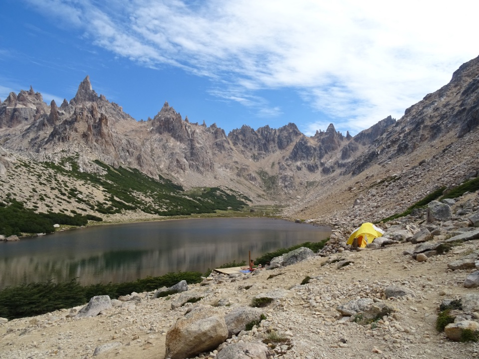 The view behind the refugio- a lake is there for swimming and fresh water