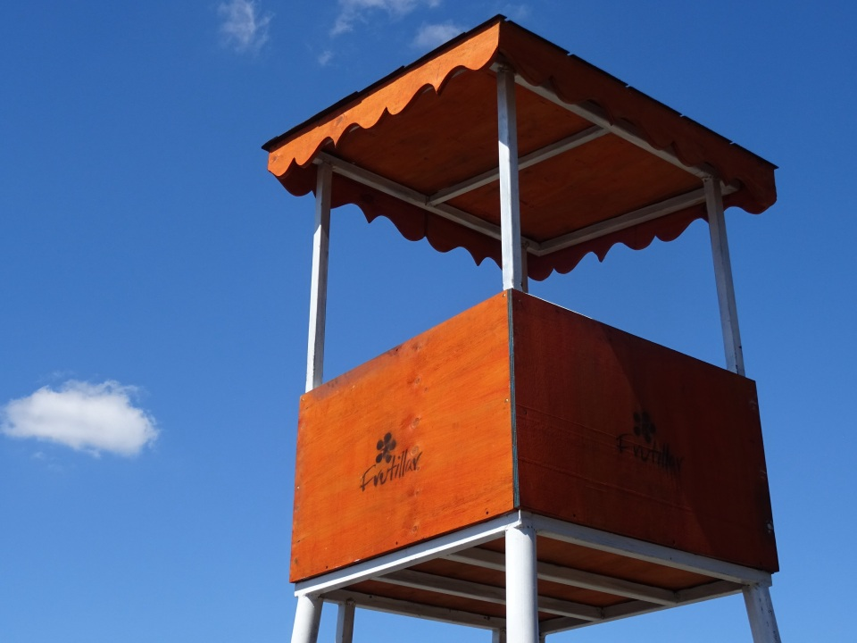 The beach lifeguard tower - no lifeguards now...