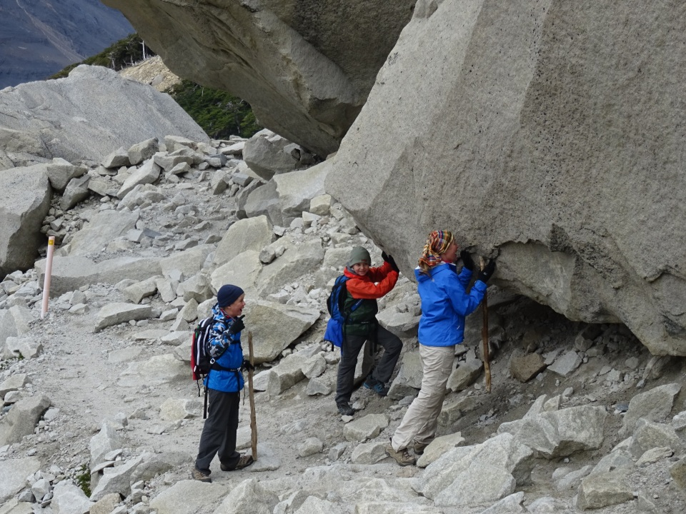 Quick! Mom, Gavin hold the rock.