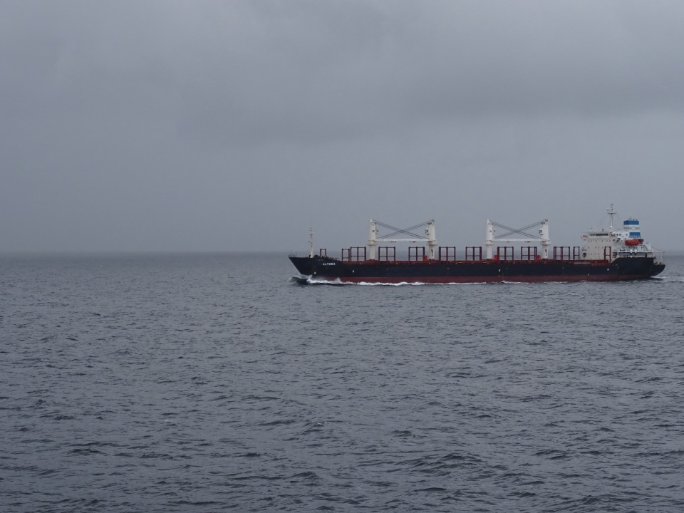 Passing another ship in the channel - very cloudy and rainy.