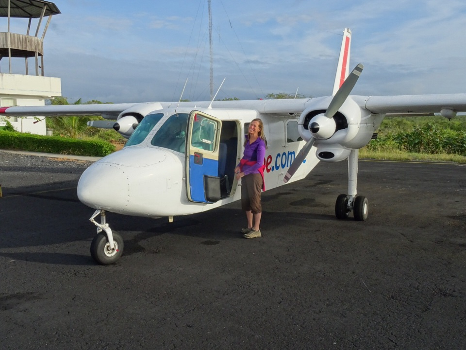 """Cindy """"loves"""" small airplane rides.  I think she was looking for other options, but this vs. 3 hour bumpy boat ride, she went for it."""